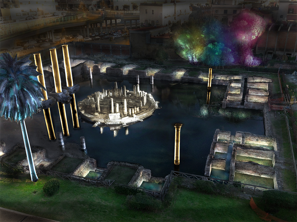 Tempio di Serapide: prove di illuminazione notturna
